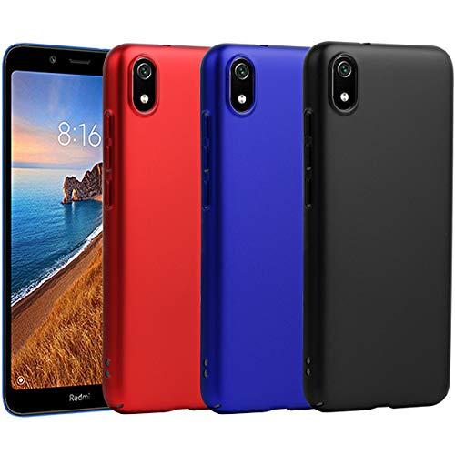TLING (3 Pack) Kompatibel mit Xiaomi Redmi 7A Hülle, Handy Hülle Cover schlicht-dünn-Leichte PC Handyhülle Schutzhülle (Schwarz, Blau, Rot)