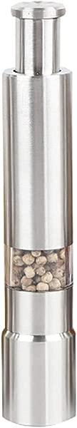 Lomsarsh 2PCS Salt And Pepper Grinder Set Stainless Steel Thumb Push Salt Pepper Spice Sauce Grinder Mill Muller Stick Peppers And Salt Mills Grinder Shaker Set