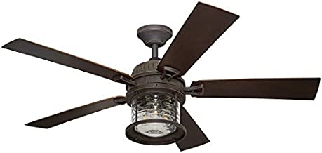 Allen + Roth Stonecroft 52-in Rust Indoor/Outdoor Downrod Or Close Mount Ceiling Fan with Light Kit and Remote