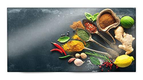 Glasvision | Küchenrückwand aus Glas | Spritzschutz | Memoboard | Herdabdeckplatte (80 x 40 cm, Variety of Spice)