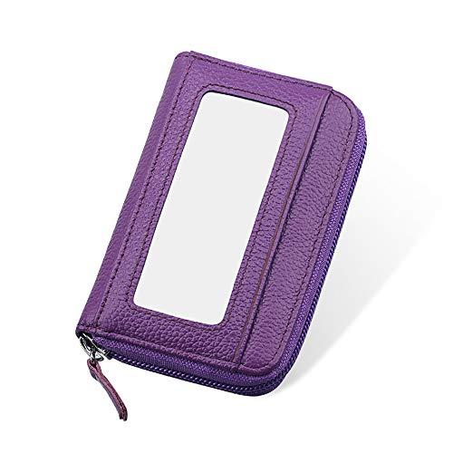 Mengshen Cartera de Bloqueo RFID para Damas de Mujer, excelente Protector de Tarjeta de crédito, Cuero sintético, Delgado con Gran Capacidad, PX08 Púrpura