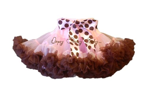 Oopsy Daisy Baby Pink with Brown Ruffles Newborn Pettiskirt (0-6 Months)