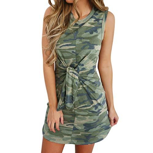 Summer Dress for Women Casual Short Sleeve Camouflage Tie Waist Beach Dress