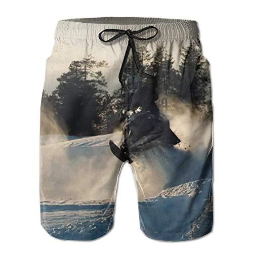 OMNHGFUG Pantalones cortos de playa para hombre, para moto de nieve, estilo casual, con cordón, pantalones cortos elásticos de verano con bolsillos