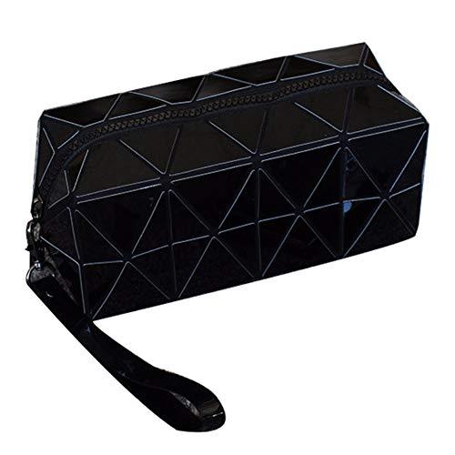 Sac cosmétique Mode Portable Géométrique Carré Grande Capacité Rhombique Coin Bourse Sac À Main Sacs De Stockage,Black,19.5X8X8CM
