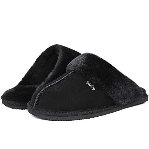 VeraCosy Donna - Pantuflas de piel auténtica con espalda abierta y espuma viscoelástica para mujer, color Negro, talla 38/39 EU