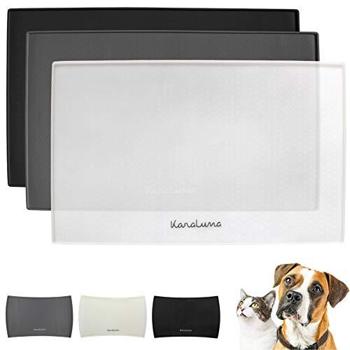 Napfunterlage aus Silikon 48x30cm (Transparent, Eckig) I Für Katze & Hund I rutschfeste Futtermatte