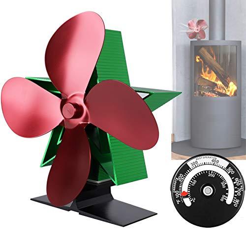 Ventilador de estufa de leña-tamaño pequeño, 4 cuchillas operación silenciosa - Colol negro y rojo