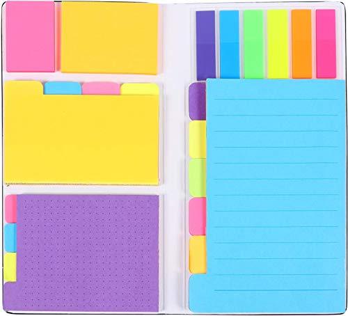 LETTURE Set Notas Adhesivas Estuche, 402pcs Diferentes Tamaños y Colores, Organizador de Escritorio para Oficina, Escuela o Trabajo. Incluye Notas Adheribles de Varios Colores y Separadores
