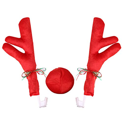 Moligh doll Reindeer Christmas Decor Car Vehicle Nose Horn Costume Set Christmas Car Reindeer Antlers & Red Nose Xmas Decoration Kit