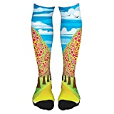 Fashion Thigh High Socks Cotton Over the Knee Socks,Illustration of Flowering Cherry Trees with Clear Sky and Flying Birds Eco,Long Knee High Socks for man and woman 60cm