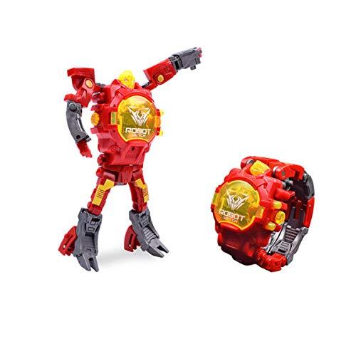 Relojes Transformador para Niños Creativo Relojes Digital Plástico Deformable, Rojo