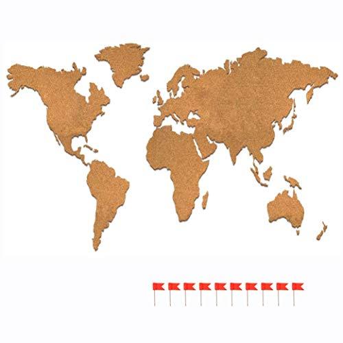 Mapamundi Corcho grande 100 x 55 cm Longivia Tablón Mundo Mapamundi Autoadhesivo con banderines