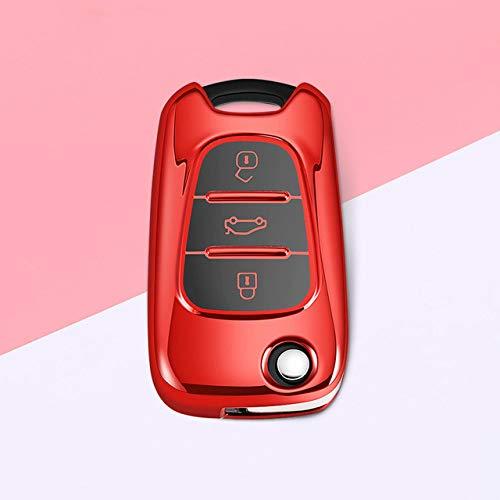 XTQDM Autoschlüsselschale,Neueste Soft TPU Full Cove Auto Schlüsseletui für Hyundai i20 i30 Creta IX35 HB20 Solaris Elantra Akzent für Kia Ceed Picanto Sportage, G, rot
