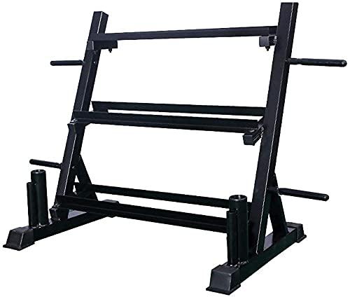 Rack de almacenamiento de pesas 3 niveles de soporte multifunción para mancuernas Kettlebells Placas de peso Almacenamiento y soporte de barra de barra vertical dual Todo en un bastidor de mancue ⭐