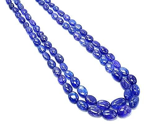 AAA+++ 2 cuerdas naturales de 7 – 9 mm, cuentas de tanzanita y cuarzo de tanzanita, perlas ovaladas, perlas de forma ovalada, perlas de piedras preciosas, collar de cuarto de tanzanita