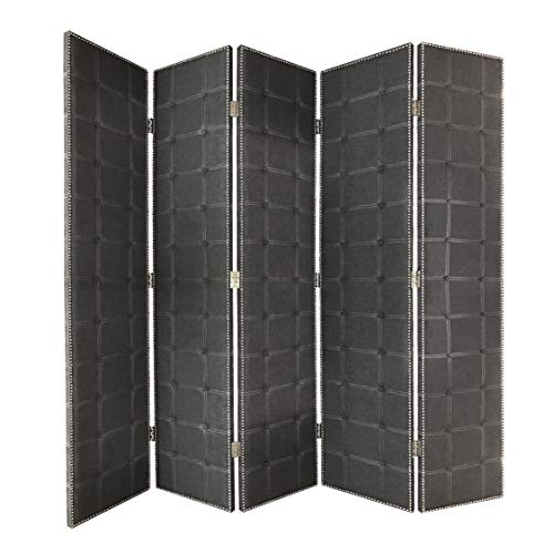 Amazing Deal Benjara Modern Style 5 Panel Screen with Faux-Leather Button Tufting, Black