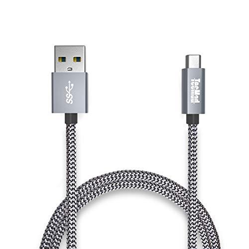 USB C Kabel auf USB 3.0A TecMadlange Nylon mit Aluminium Gehäuse Typ C Kabel Kompatibel für MacBook Pro,Galaxy S9 S8 Plus/Note 9 Nexus 5X 6P,OnePlus 6/5,Huawei P20/P10 Mate 20/10 usw. Grau 2M