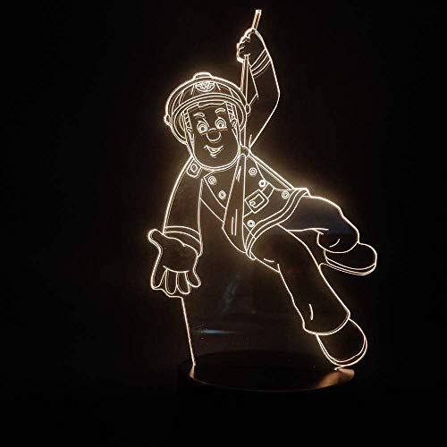 Die meisten 3D-Lampe des Jahres Nationalheld Feuerwehrmann Sam powered Lampe Indoor Base Dekoration Nachtlicht LED-Lampe