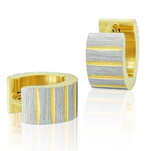 SoulCats® 1 Paar Creolen gebürstet silbern gold matt unisex, Farbe:gold/silbern