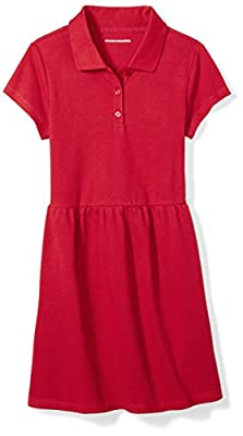 Amazon Essentials Girl's Short-Sleeve Polo Dress, Scooter Red, L (10)