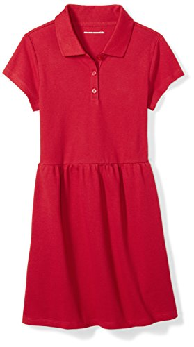 Amazon Essentials Girl's Short-Sleeve Polo Dress, Scooter Red, S (6-7)