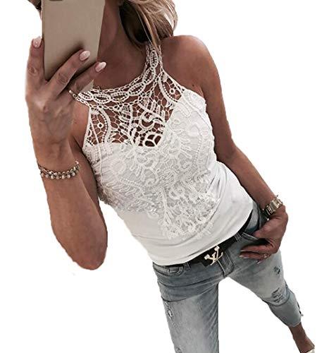 Ailnge Damenmode Spitzenshirt Oberteile Sommer Sexy Spitze T-Shirt