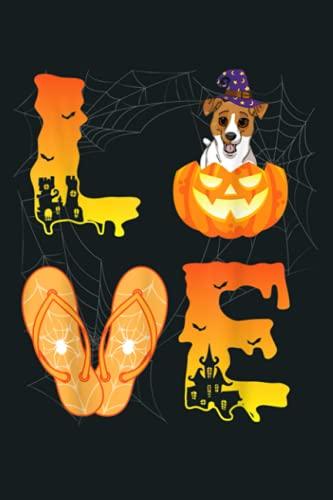 Moon Flip Flop Spider Pumpkin Rat Terrier LOVE Halloween Day: Notebook Planner - 6x9 inch Daily Planner Journal, To Do List Notebook, Daily Organizer, 114 Pages