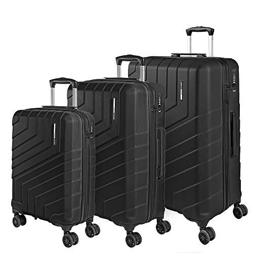 Set di 3 Valigie Trolley da Viaggio Rigide - Tris Bagaglio a Mano e da Stiva Ultra Leggeri in ABS con Manico in Alluminio - Chiusura TSA e 4 Ruote Doppie Girevoli - Perletti Travel (Nero, S+M+L)