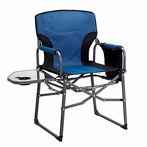 MaiuFun Folding Camping Chair with Side Table Portable Outdoor Director Chairs Heavy Duty Quad Support 330 lbs High Back Thicken Oxford with Padded Armrests, Storage Bag, Cup Holder(Blue)