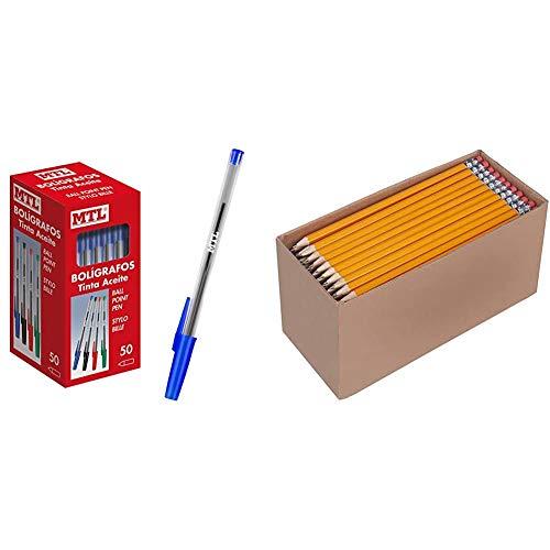 Dohe - Caja de bolígrafos con capucha - 1,0 mm - 50 uds - Azul + Amazon Basics - Lápices n.º2 HB de madera, afilados, Pack de 150