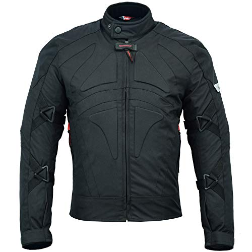 BULLDT Motorradjacke Cordura Textilien kurze Jacke Schwarz, Größe:58/3XL
