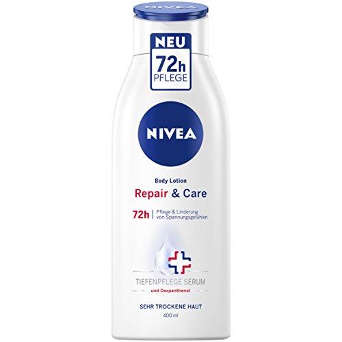 NIVEA Repair & Care Body Lotion im 3er Pack (3 x 400 ml), Körpercreme für 72h Pflege & Linderung von Spannungsgefühlen, Hautcreme mit Dexpanthenol