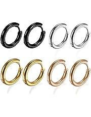 316L Surgical Stainless Steel Huggie Hoop Earrings 6mm/8mm/10mm/11mm/12mm/14mm Hypoallergenic Earrings Hoop Cartilage Helix Lobes Hinged Sleeper Earrings For Men Women Gilrs Boys