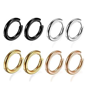 4Pairs 316L Surgical Stainless Steel Hoop Earrings Hypoallergenic 8mm Small Huggie Earrings Hoop Cartilage Helix Lobes Hinged Sleeper Earrings for Men Women 8MM Hoops