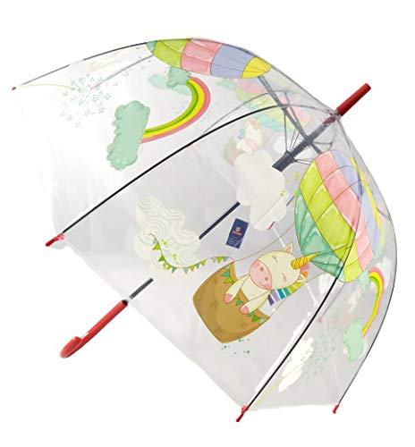 Goods4good Paraguas para Mujeres, niñas Adolescentes, con Forma de Burbuja, Transparente, con Dibujos de Unicornios, Resistente al Viento con Varillas y Estructura de Fibra. Diámetro 81 cm. (Rojo)