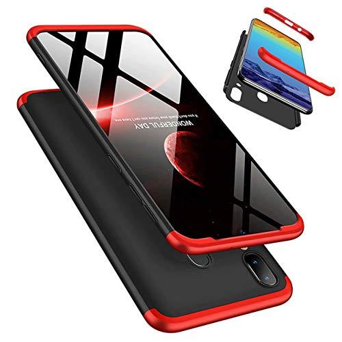 Laixin 3 in 1 Handyhülle für Samsung Galaxy M20 Hülle + Panzerglas, Ultra Dünn PC Plastik Anti-Kratzen Schutzhülle Schutz Hülle Cover mit Bildschirmschutzfolie, Rot/Schwarz