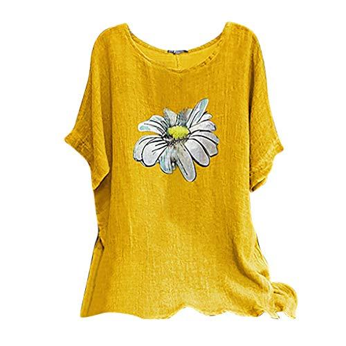 MRULIC Damen Leinenbluse Kurzarm Rundhals Drucken Sommer Pullover Blumen Tunika T-Shirt Vintage Basic Tops Geschenk Zum Muttertag(A4-Gelb,S)