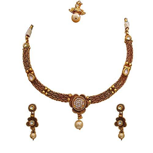 GemsOnClick Exclusivo juego de collar con maangtika chapado en oro con perlas de cristal de gota tachonado tradicional para mujer, joyería de boda para novia esposa