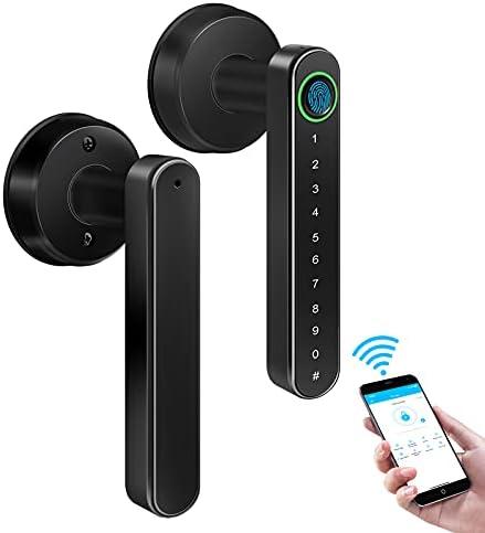 Smart Door Lock, Fingerprint Door Lock, Keyless Entry Door Lock with Handle, Smart Lever Door Lock with Bluetooth APP WiFi Control, Smart Fingerprint Door Lock Perfetc for Apartment, Office, Bedroom