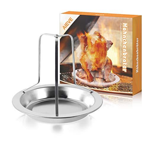 AIEVE Hähnchenbräter Hühnerhalter Hähnchenhalter Geflügelbräter Bräter Ständer mit Platte Grillzubehör für Hähnchen Braten Backofen Grill BBQ
