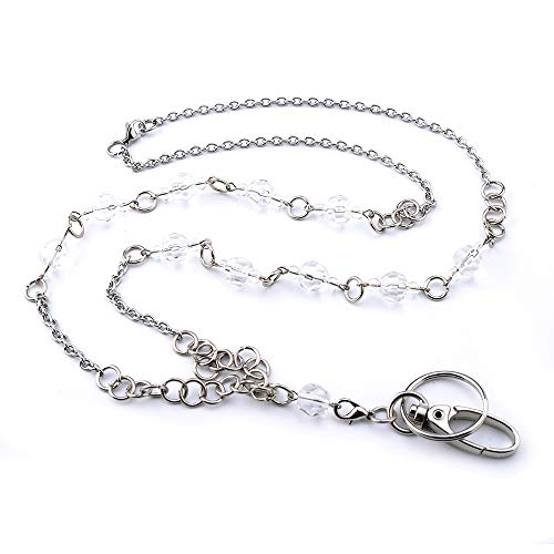 LUXIANDA Silver ID Necklaces, Teacher Lanyard ID Necklaces ID Badge Holder Stainless Steel Chain