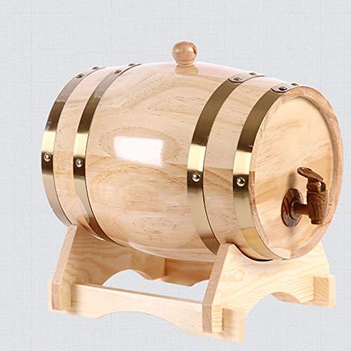 Weinfässer aus Eichenholz Eichenfass Whiskyfass, Vintage Holz Eichenholz Im Alter von Weinfass for Brauen oder Lagern Bier, Whiskey, Cocktail 1.5L / 3L / 5L / 10L (mit Hahn) (Size : 1.5L)