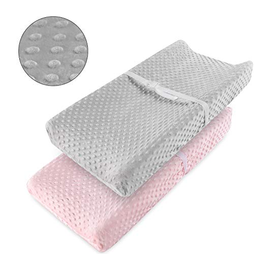 Vextronic Changing Pad Cover Ultra Soft Minky Dots Changing Table Covers Breathable Changing Table Sheets Bubble Dots Changing Pad Cover for Baby Boy and Baby Girl(2 Packs)