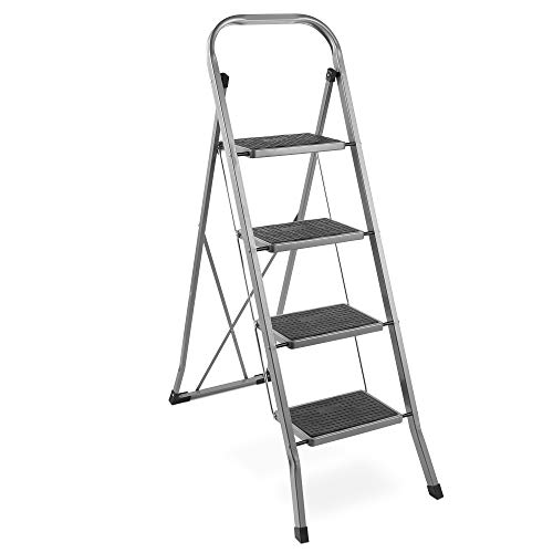 VonHaus Steel 2 Step Ladder Folding Portable Stool with 330lbs Capacity - Lightweight and Sturdy, White, 2 Step