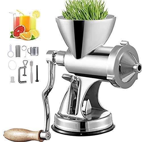 Manual Juicer Manual Wheatgrass Juicer with Suction Cup Base and Bench Clamp Wheatgrass Mill Long Screw Wheatgrass Juicer Stainless Steel