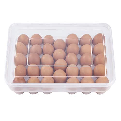 MengH-SHOP Caja Envase para Huevos Plástico Grande Cartón de Huevos para la Nevera Caja con Tapa Huevera Capacidad para 34 Huevos