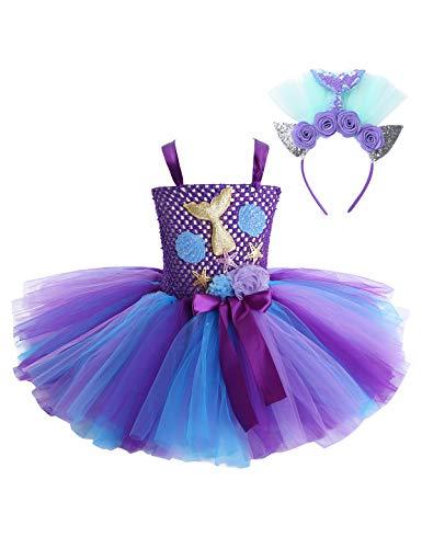 CHICTRY Mädchen Meerjungfrau Kostüm Kleider Tutu Prinzessin Kleid Cartoon Kostüm mit verstellbar Träger Halloween Fasching Party Verkleidung Lila B 104-110/4-5 Jahre