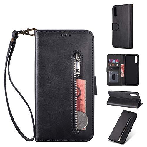 ZTOFERA Samsung Galaxy A70 Handyhülle Schutzhülle Leder PU Wallet Lederhülle Klapphülle Kartenfach Standfunktion Zipper Brieftasche Magnetisch Silikon Protective Hülle für Galaxy A70 - Schwarz