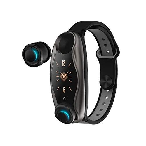 YONGLI Pulsera Inteligente Auriculares Bluetooth Inalámbrica 2 En 1 Bluetooth 5.0 Chip IP67 Impermeable (Color : Black)